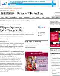FDA panel opposes pure hydrocodone painkiller: Seattle Times